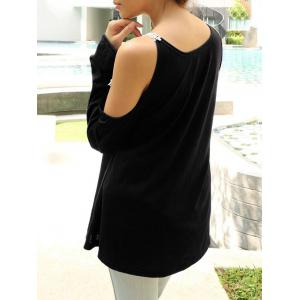 Cold Shoulder Lace Panel Color Block T-Shirt with Long Sleeve - BLACK XL