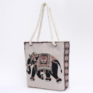 Print Canvas Beach Bag -
