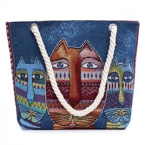 Print Canvas Beach Bag - Blue - 39