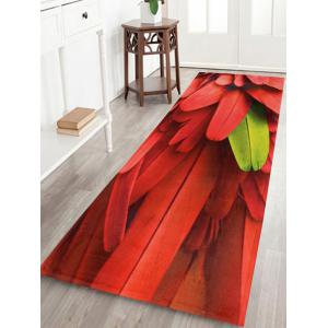 Coral Velvet Feather Pattern Bathroom Rug