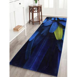 Coral Velvet Feather Pattern Bathroom Rug - Deep Blue - W24 Inch * L71 Inch