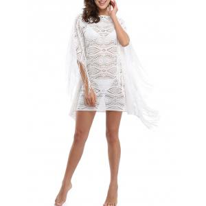 Batwing Sleeve Fringed Cover Up Dress - White - S