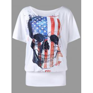 Plus Size Skull American Flag Print T-shirt - White - 5xl