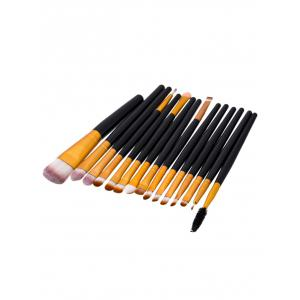 15Pcs Nylon Face Eye Makeup Brushes Set - Black And Golden