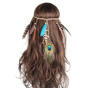 Charm Indian Peacock Feather Hair Accessory - Blue