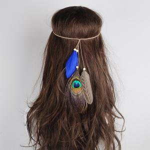 Peacock Feather Indian Charm Headwear - Blue