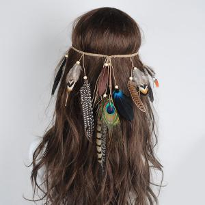 Bohemian Charm Peacock Feather Headwear - Colormix