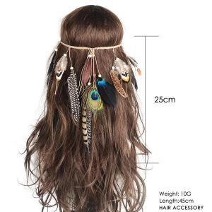 Bohemian Charm Peacock Feather Headwear -