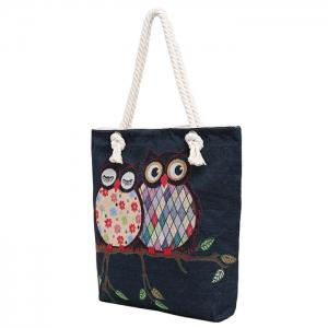 Twist Rope Owl Jacquard Beach Bag -