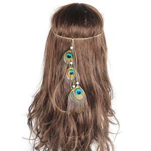 Peacock Feather Indian Hair Accessory - Green - S