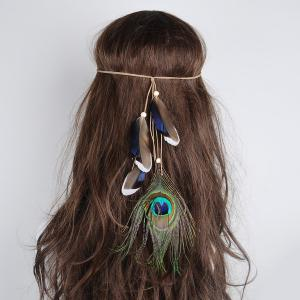 Peacock Feather Indian Bohemian Hair Accessory - Green