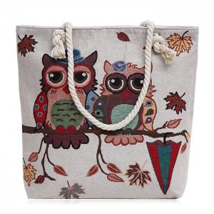 Twist Rope Owl Jacquard Beach Bag - White And Brown