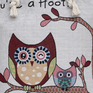 Twist Rope Owl Jacquard Beach Bag - Rose et Blanc