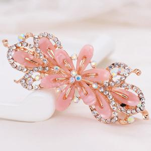 Faux Crystal Floral Hollow Out Barrette - Light Pink - Pattern C