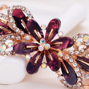 Faux Crystal Floral Hollow Out Barrette - Rouge