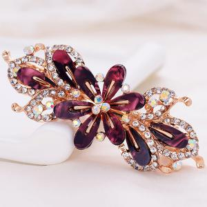 Faux Crystal Floral Hollow Out Barrette - Red