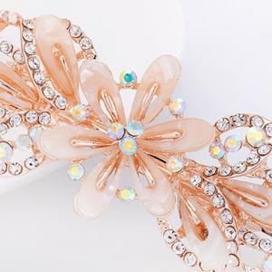 Faux Crystal Floral Hollow Out Barrette -