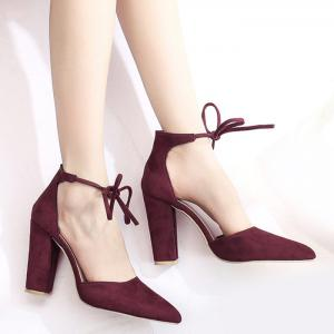 Ankle Lace Chunky Heel Pointed Toe Pumps - Burgundy - 42