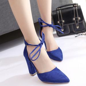 Ankle Lace Chunky Heel Pointed Toe Pumps - BLUE 41