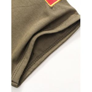Wolf and Chinese Flag Embroidered Tee - ARMY GREEN XL