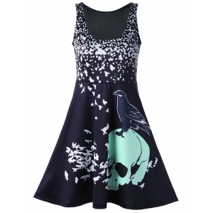 Skull Bird Print Mini Sleeveless Dress