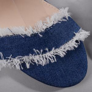 Ankle Strap Block Heel Denim Sandals -