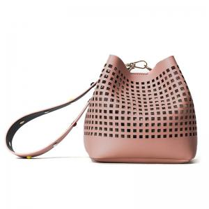 Hollow Out Bucket Bag with Beaded Strap - Pink - One Size