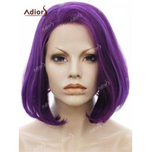 Adiors Short Side Swept Bang Straight Shaggy Bob Lace Front Synthetic Wig