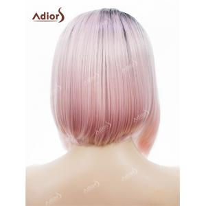 Adidas Short Colormix Side Part Straight Bob perruque synthétique en dentelle en dentelle - ROSE PÂLE