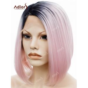 Adiors Short Colormix Side Part Straight Bob Lace Front Synthetic Wig -