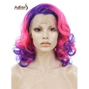 Adiors Medium Colormix Side Swept Bang Curly Lace Front Synthetic Wig - Blue And Pink - 5xl