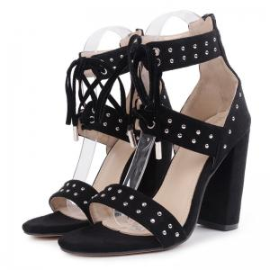Tie Up Studded Chunky Heel Sandals -
