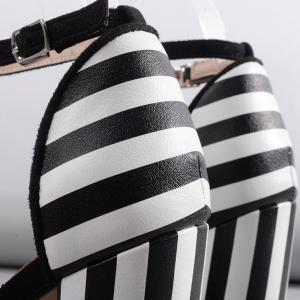 Ankle Strap Striped Pattern Sandals - BLACK WHITE 37