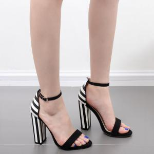 Ankle Strap Striped Pattern Sandals - Black White - 38