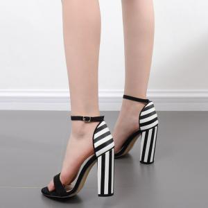 Ankle Strap Striped Pattern Sandals -