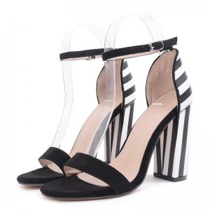 Ankle Strap Striped Pattern Sandals - BLACK WHITE 40