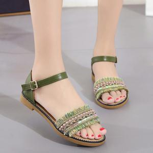 Bohemian Beaded Fringed Flat Sandals - Green - 39