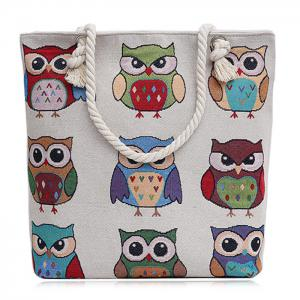 Twist Rope Owl Jacquard Beach Bag - Colormix