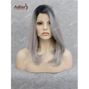 Adiors Medium Side Bang Straight Bob Colormix Lace Front Synthetic Wig
