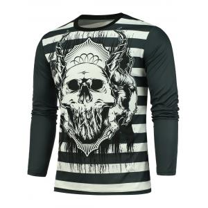Long Sleeve Striped Skull Printed T-shirt