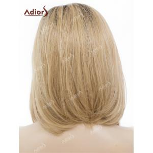 Adiors Medium Side Bang Straight Bob Colormix Lace Front Synthetic Wig - BLACK AND BROWN