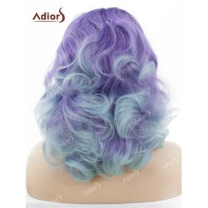 Adiors Long Shaggy Side Swept Bang Curly Lace Front Synthetic Wig - LIGHT PURPLE