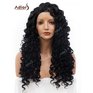 Adiors Long Shaggy Side Part Deep Curly Lace Front Synthetic Wig