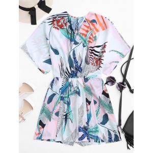 Tropical Printed Plunge V Neck Kimono Romper - White - Xl