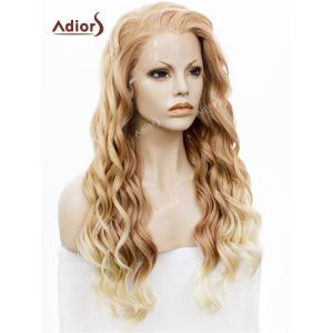Adios Long Free Part Shaggy Curly Colormix Lace Front Synthetic Wig - BROWN