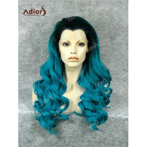Adios Long Free Part Shaggy Curly Colormix Lace Front Synthetic Wig - DEEP BLUE