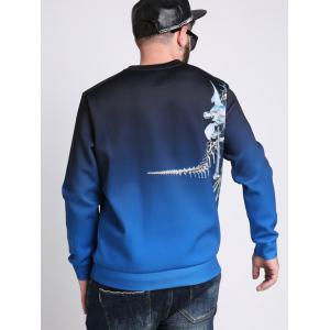 Mechanical Dragon Printed Ombre Color Plus Size Sweatshirt - COLORMIX 3XL