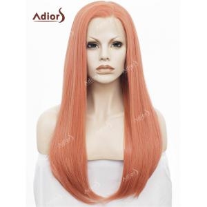 Adiors Long Free Part Glossy Straight Lace Front Synthetic Wig - Rose Gold