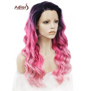 Adiors Long Free Part Shaggy Layered Wavy Colormix Lace Front Synthetic Wig -