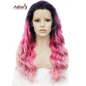 Adiors Long Free Part Shaggy Layered Wavy Colormix Lace Front Synthetic Wig